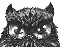 OWL THE LEAVES. Tattoo Design.
