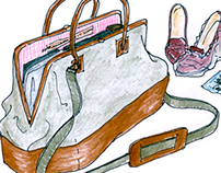 Luggage illustrations for travel/career article in TWW