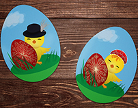 Cute Easter Chick Stickers
