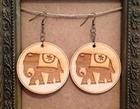 Wooden Elephant Earrings
