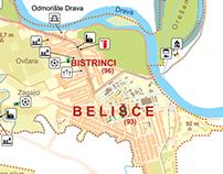 Tourist map of Belišće ( Town in Croatia )
