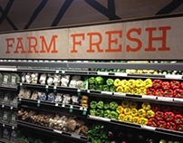 Whole Foods signage created by paint, chalk, silkscreen