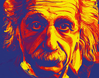Albert Einstein Digital Portrait In Adobe Illustrator