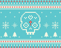Pixel Sugar Skull Holiday Card & Sticker Design