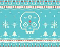 Pixel Sugar Skull Holiday Card & Sticker Design