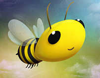 Bee Flying On Colour Sky