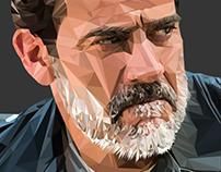 NEGAN / Jeffrey Dean Morgan - Low poly digital portrait