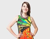 Vibrant Fruit Cocktail Teller Dress