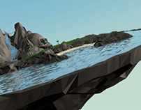 Skull Rock Island - Low Poly 3D Motion