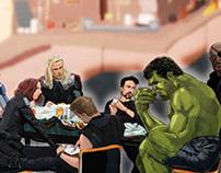 The Avengers Restaurant Scene