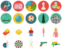 Toys and Board games flat icons