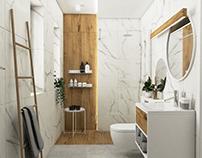 Marble & wood bathroom