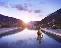 Infinity pool in Italian Mountains. CGI