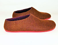 Color Block - Coffee and Orchid - Felt Shoes
