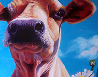 Purple Cow with Flowers