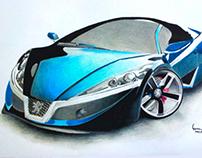 Futuristic car drawing