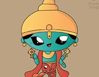 Dasavatar in Kawaii Illustration style