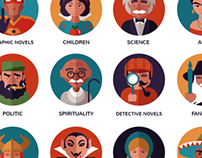 Bookstore subjects - vector icons