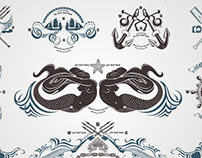Engraving Vintage Sea Labels Set