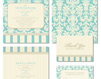 Set of classic wedding invitations
