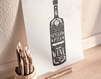 Typographic Wine Bottle