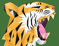 Tiger Flat Polygon Logo