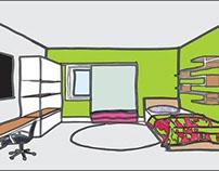 Perspectiva Ilustrada de Mobiliário de Interior.
