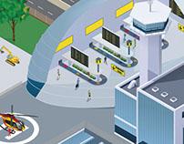 Illustration vectorielle d'une gare multimodale