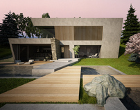 House & garden on a steep terrain