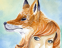 Fox Woman Watercolor