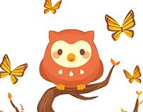 Seahorse, Owl, Kitten Illustration