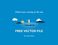 Fisherman Rowing in the sea Vector Freebie