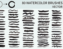 80 watercolor brushes