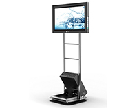 Mobile LCD floorstand with Media safe