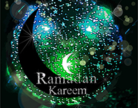 Vector glowing ramadan Kareem Moon