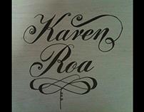 marca personal con letra Round hand Script