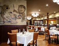 Palm restaurant Architectural vintage art embellishment
