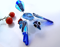 Blue Bird fused glass suncatcher