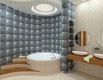 2 bathrooms, bedroom for two girls, 3d design interior