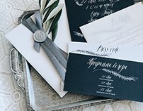 Gorgeous graphite wedding invitations