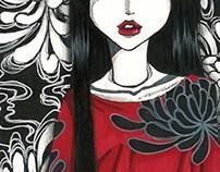 Red silk with Chrysanthemum