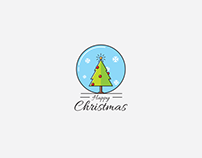 Happy Christmas tree icon illustration