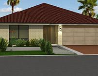Architectural 3D Rendering - Home Exterior & Floor Plan