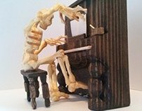 Miniature Wooden Skeleton Playing Piano