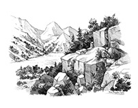 landscape - drawing in pencil