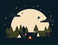 Summer Campout T-Shirt Illustration