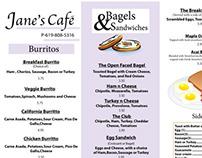 Janes Cafe Trifold Menu Design