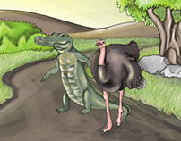 ostrich and crocodile