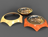 Pet bowls in wood and steel