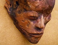 Red clay and mixed technique  - ceramic mask